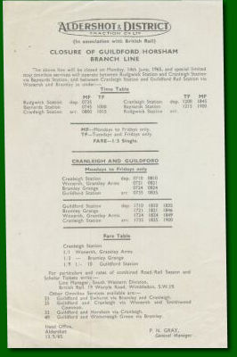 Train Replacement Bus Timetable