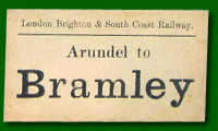 Luggage Label - Arundel Station to Bramley Station