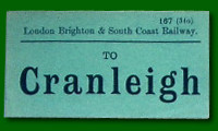 Luggage Label - Arundel Station to Cranleigh Station